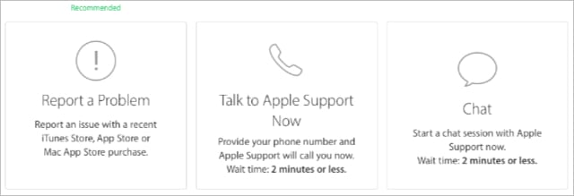 Apple Support options showing phone or online chat.