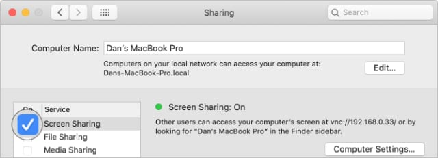 Button to turn on Screen Sharing in macOS System Preferences