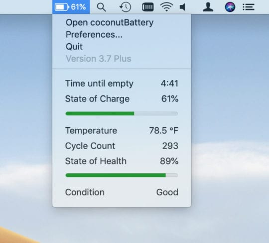 Coconut menu bar information giving battery health and condition