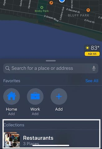 Collections in Apple Maps iOS 13