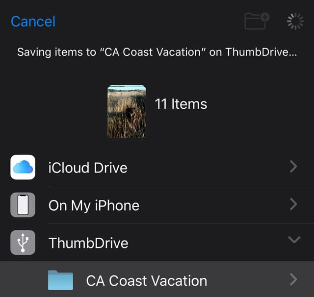 message that iOS and iPadOS is saving your photos to an external drive
