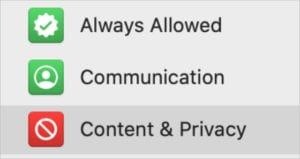 Content & Privacy button in Screen Time sidebar2