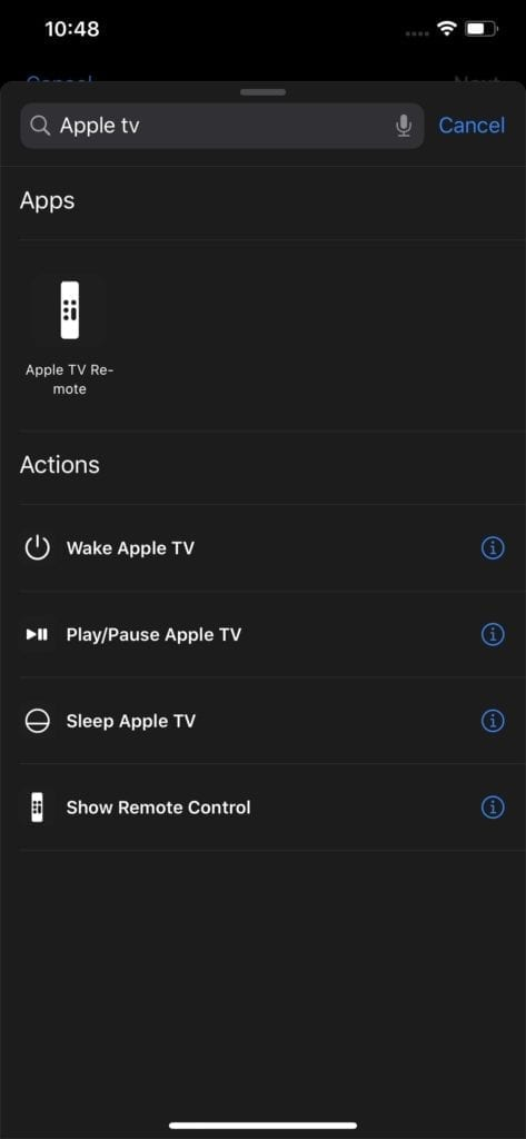 Control Apple TV Shortcuts Actions in iOS 13