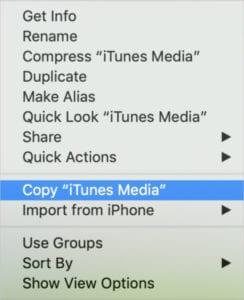 Copy iTunes Media option in control-click menu