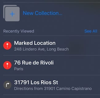 Apple Map Collections iOS 13