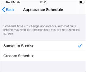 Dark mode iOS Sunset to Sunrise schedule