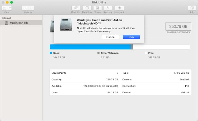 Disk Utility First Aid pop-up window
