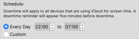 Downtime Schedule in macOS