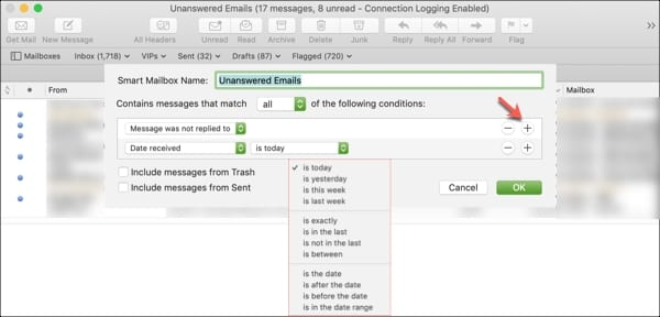 Edit Smart Mailbox with date