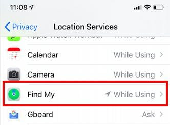Location services in Find my app