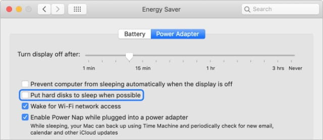 Energy Saver macOS System Preferences with option to put hard disk to sleep