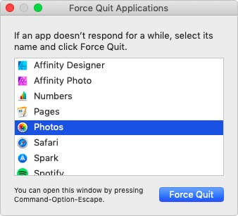 Force Quit window in macOS highlighting Photos app