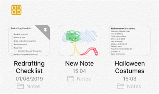 Gallery view in Notes in iPadOS and iOS 13