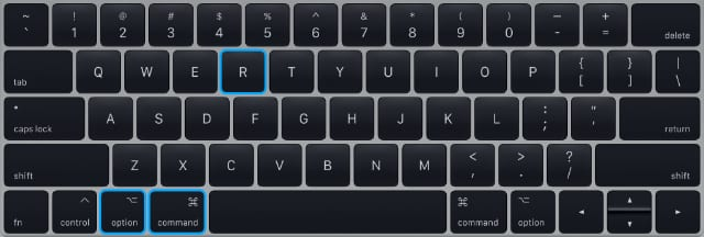MacBook Keyboard highlighting option+command+R keys