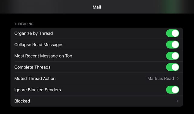 threading option for the iOS and IPadOS Mail App