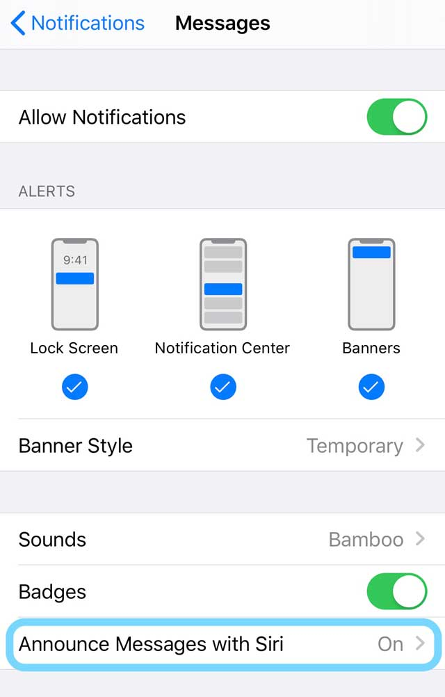 Notification settings for Messages App