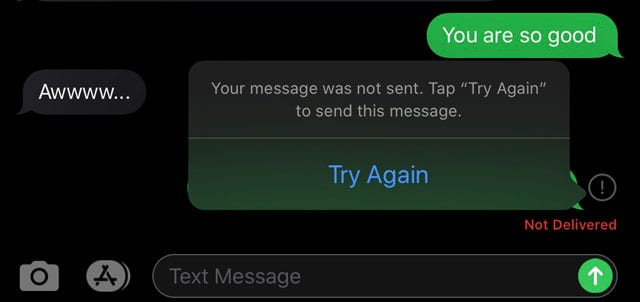 message was not sent. Try Again