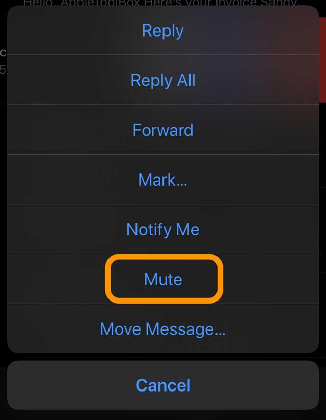 Mail app Mute option iOS and iPadOS