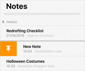 Notes in iPadOS and iOS 13 showing button to Pin a note