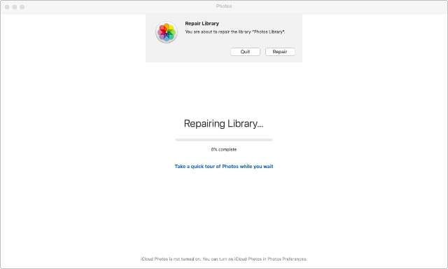 Photos library repair tool in macOS