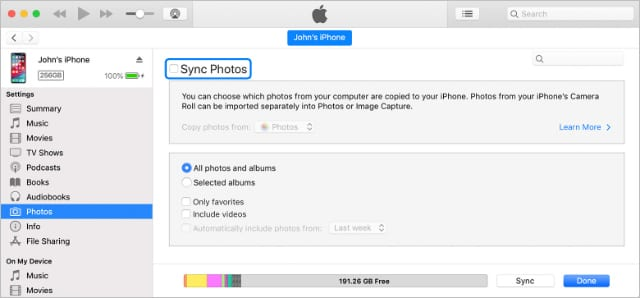 Photos syncing page from iTunes