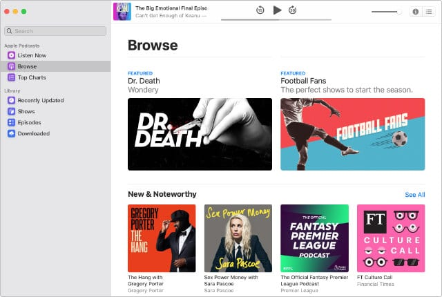 Podcasts app in macOS Catalina