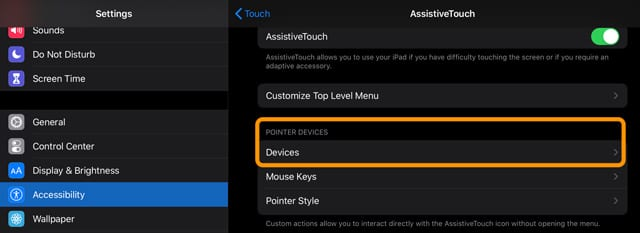select a mouse in accessibility settings under pointer devices