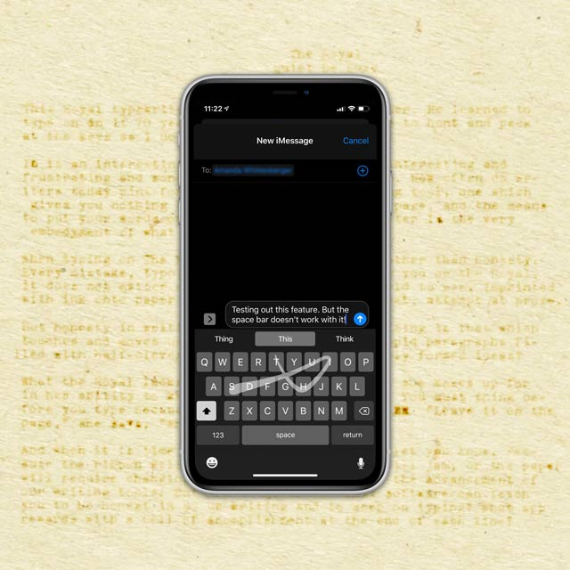 use quickpath swiping text in iMessage on iPhone