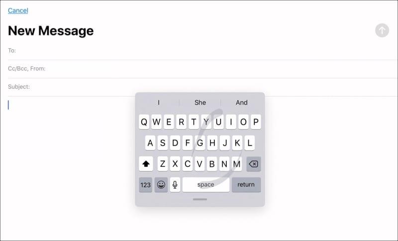 QuickPath on iPadOS floating keyboard