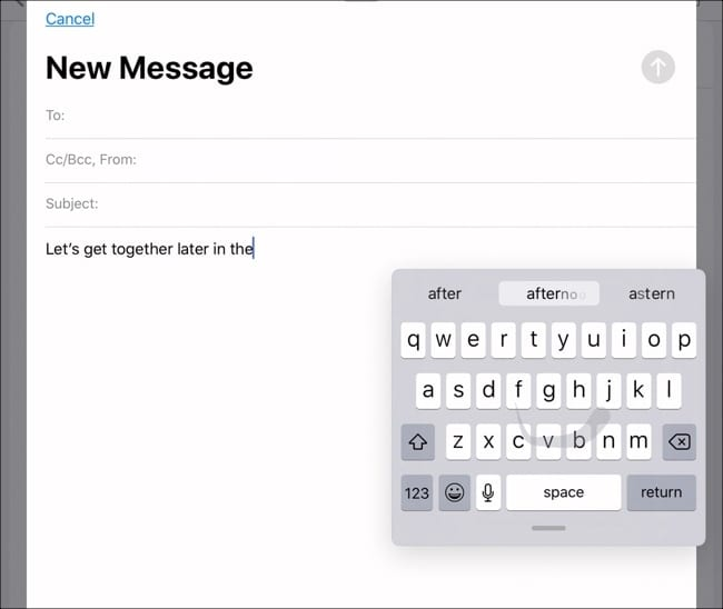 QuickPath on iPadOS floating keyboard