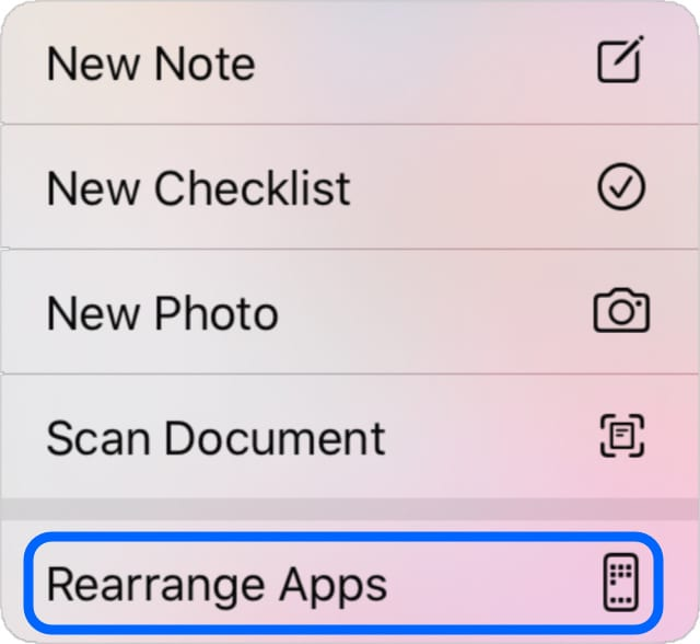 Rearrange Apps button from iOS 13 Home screen