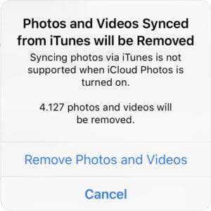 Alert warning that iTunes photos and videos will be removed