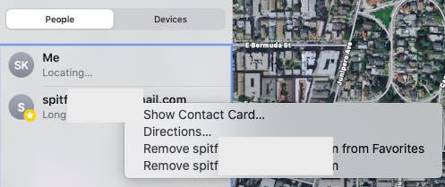 How to remove a contact from find my app