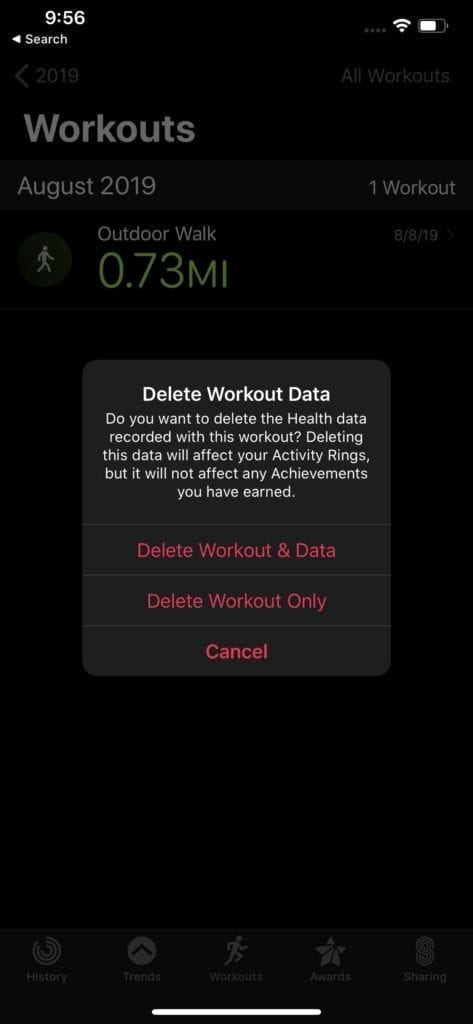 Remove workouts Apple Watch 1