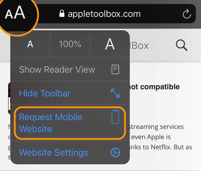 Change a website to request the mobile website version iOS 13