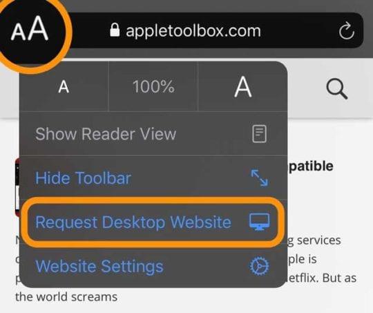 Set a website to request the desktop website version in iOS 13