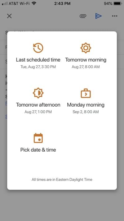 Reschedule an email