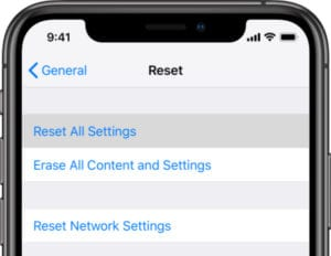 Reset All Settings in iOS on iPhone XS