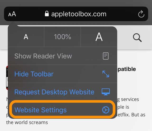 Safari options for website settings iOS 13 and iPadOS
