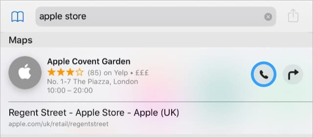 Safari search phone button