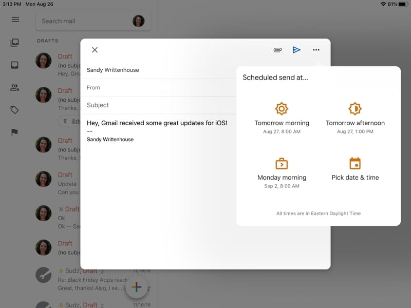 Schedule emails in Gmail on iPad