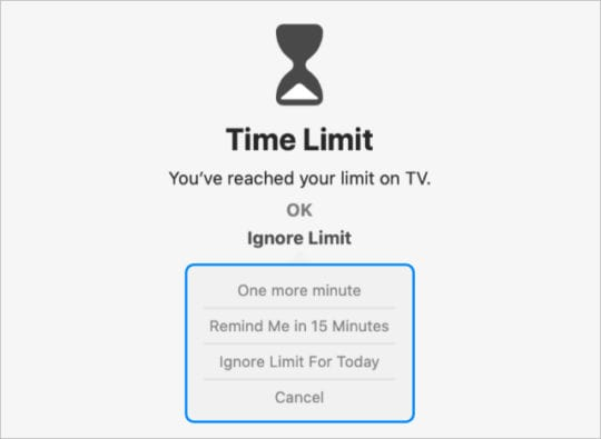 Screen Time Ignore Limit options in macOS2