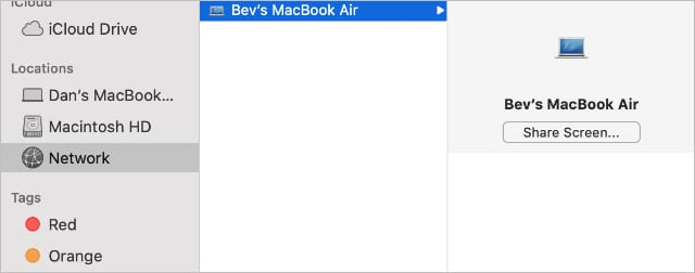 Share Screen option in Finder's Network computers