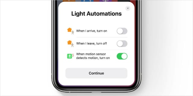 Suggested automation in Apple Home app