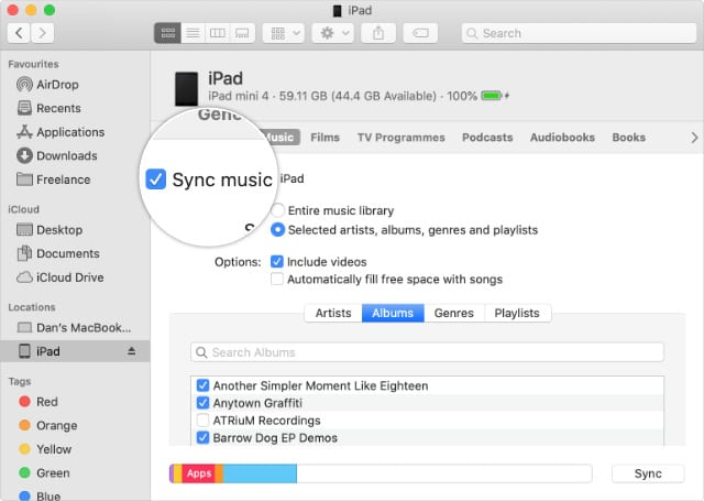 Sync music checkbox for iPhone, iPad, or iPod touch in Finder in macOS Catalina