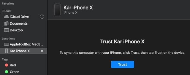 macOS Finder app Trust iPhone message