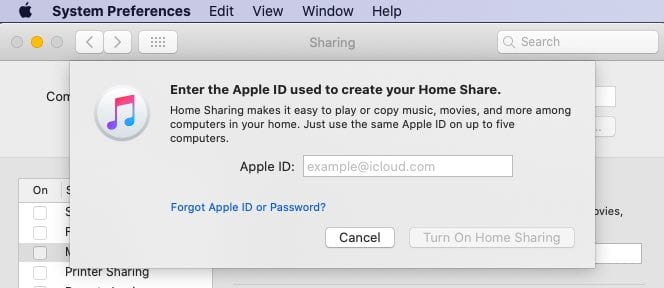 Apple ID for home sharing on macOS Catalina