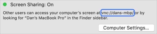 VNC address in macOS Screen Sharing preferences