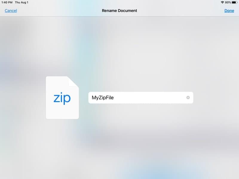 Rename ZIP file iPadOS