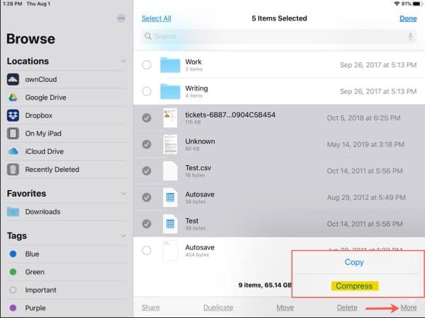 Tap Compress to zip files on iPadOS
